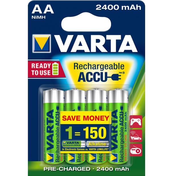 Аккумулятор VARTA R2U Ready To Use Ni-MH AA 2400 mAh 4 шт