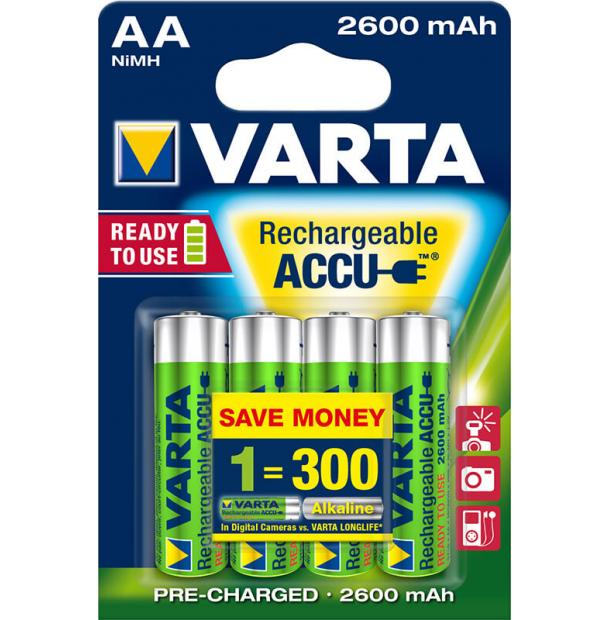 Аккумулятор VARTA R2U Ready To Use Ni-MH AA 2600 mAh 4 шт