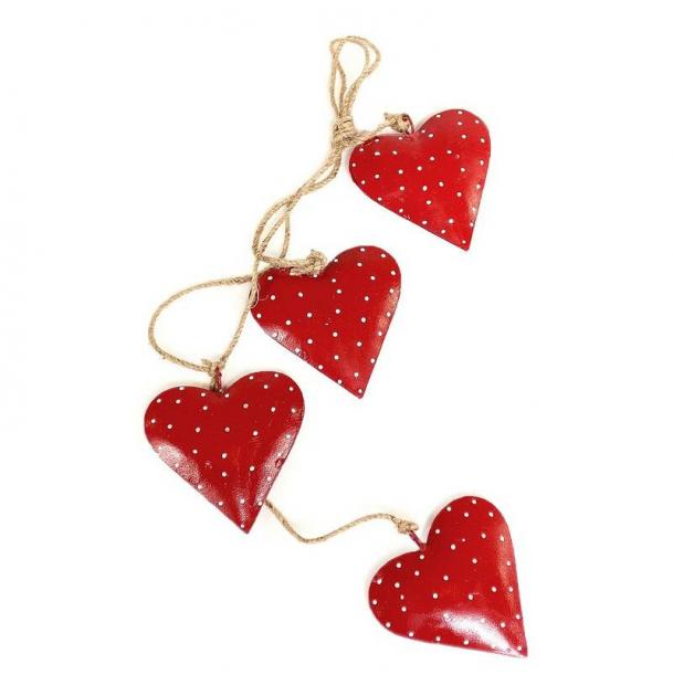 Гирлянда подвесная EnjoyMe Red Hearts, 4 шт.