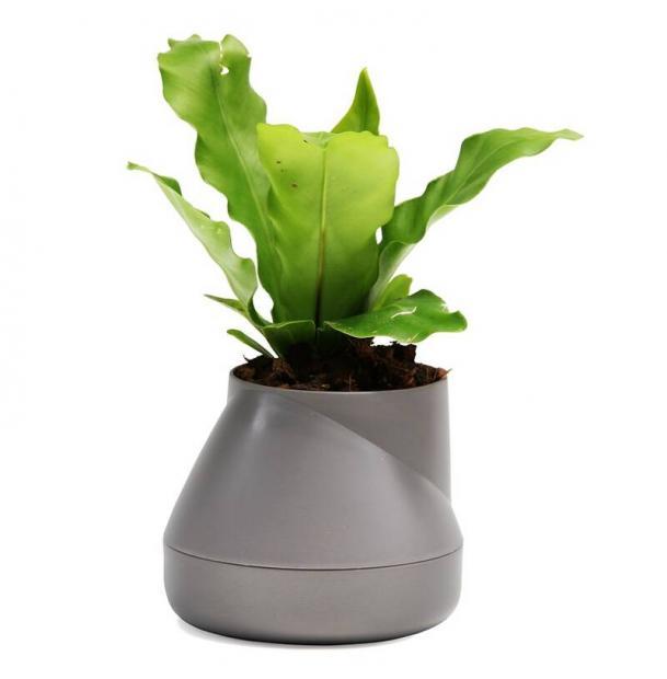 Горшок цветочный Qualy Hill Pot, маленький, серый