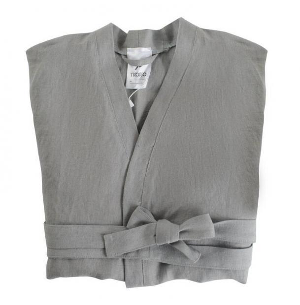 Халат Tkano из умягченного льна серый Essentialm