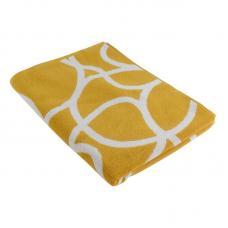 Жаккардовое полотенце Tkano с авторским дизайном Gravity горчичное Cuts&Pieces 70х140