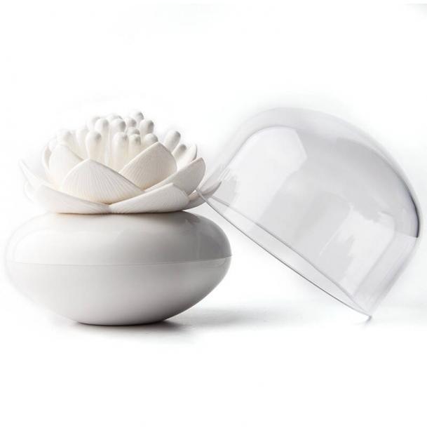 Контейнер для хранения ватных палочек Qualy Lotus белый
