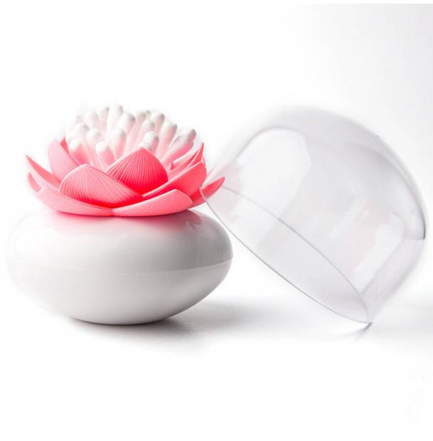 Контейнер для хранения ватных палочек Qualy Lotus белый-розовый
