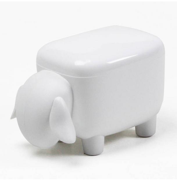 Контейнер для мелочей Qualy sheepshape, белый с белой крышкой