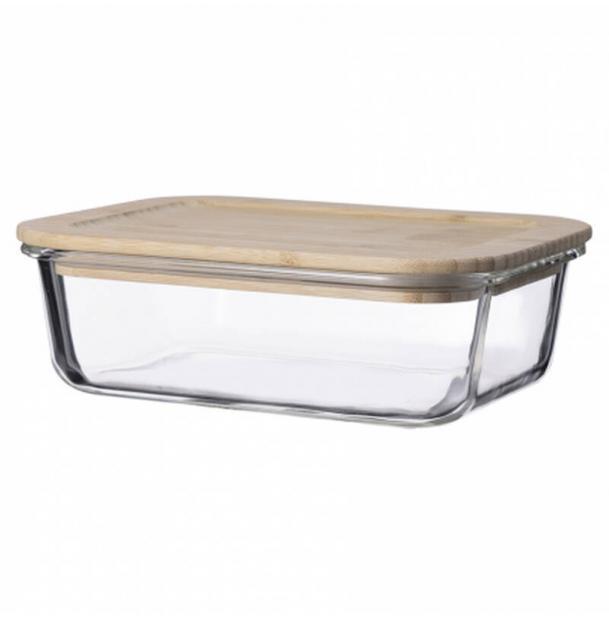 Контейнер для еды стеклянный 1050 мл с крышкой из бамбука LB1050RC