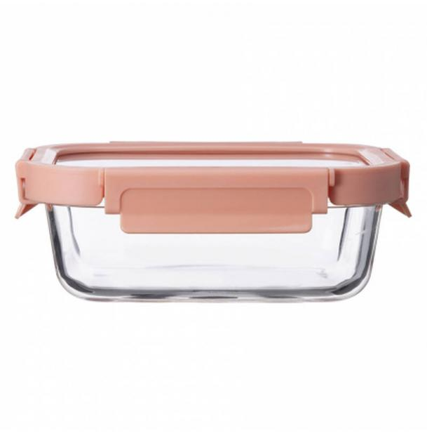 Контейнер для еды стеклянный 370 мл Smart Solutions розовый ID370RC_488C