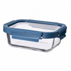 Контейнер для еды стеклянный 640 мл темно-синий