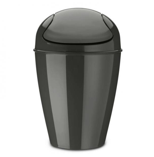 Корзина для мусора с крышкой Koziol Del M 12 л тёмно-серая