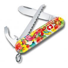 """Набор для детей Victorinox """"Попугай"""": перочинный нож 84 мм, шнурок на шею, книга-раскраска"""