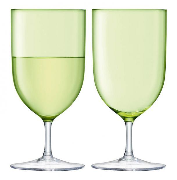 Набор из 2 бокалов для воды и вина LSA International Hint 400 мл зелёный
