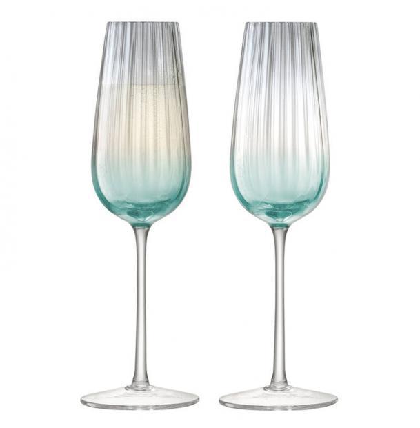 Набор из 2 бокалов-флейт для шампанского LSA International Dusk 250 мл зелёный-серый