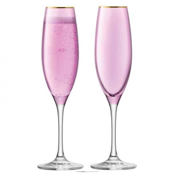 Набор из 2 бокалов-флейт для шампанского LSA International Sorbet 225 мл розовый
