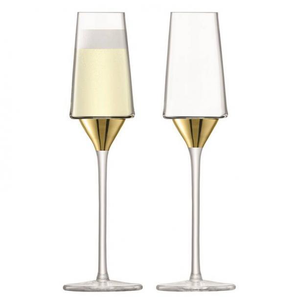 Набор из 2 бокалов-флейт для шампанского LSA International Space 210 мл золото