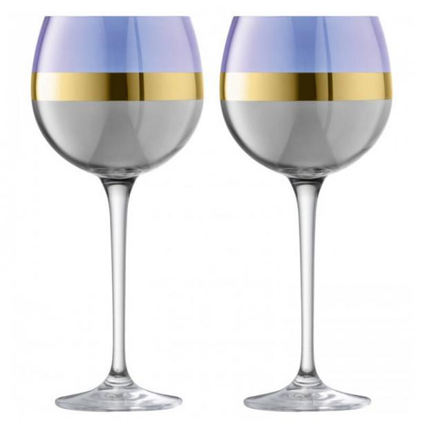 Набор из 2 круглых бокалов LSA International Bangle 525 мл фиолетовый