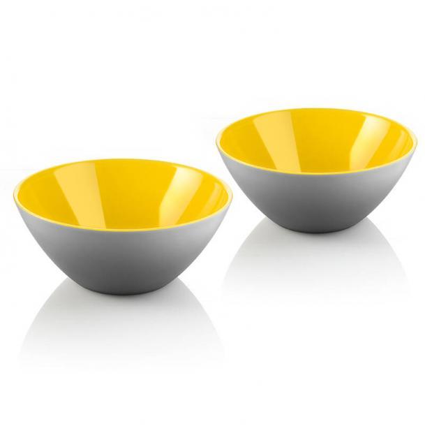 Набор из 2 мисок Guzzini My Fusion 12 см серо-жёлтый