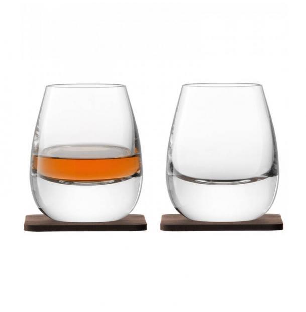 Набор из 2 стаканов LSA International Islay Whisky с деревянными подставками 250 мл
