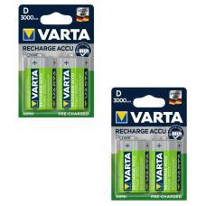 Набор из 4 аккумуляторов VARTA Rechargable Accu HR20/D 3000mAh