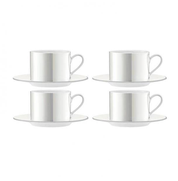 Набор из 4 чашек с блюдцем LSA International Pearl 250 мл белый перламутр