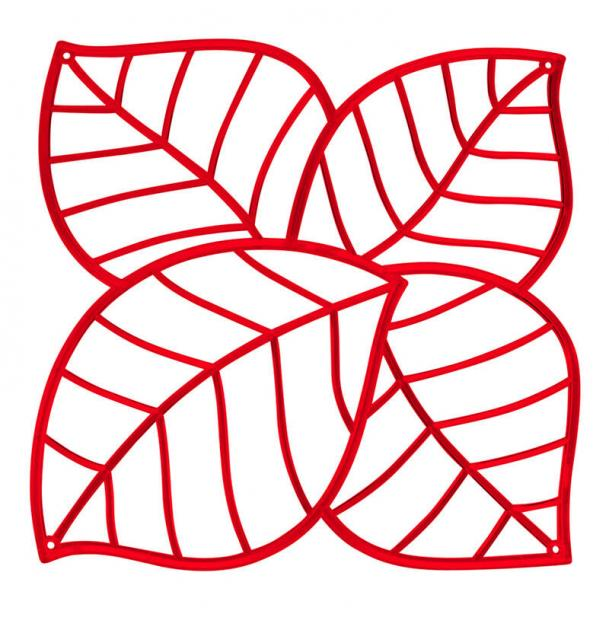 Набор из 4 декоративных элементов Koziol Leaf красный