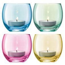 Набор из 4 подсвечников для чайных свечей LSA International Polka пастель