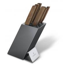 Набор из 5 кухонных ножей VICTORINOX, с рукоятью из орехового дерева, в подставке из бука
