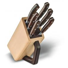Набор из 6 кованых кухонных приборов VICTORINOX: 5 ножей и вилка, в подставке из бука