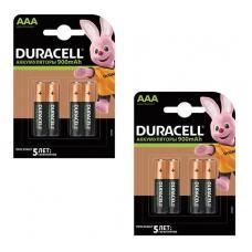 Набор из 8 аккумуляторов Duracell R03 AAA NI-MH 900mAh