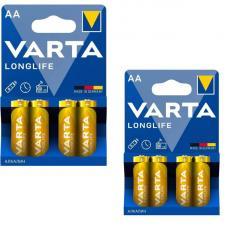 Набор из 8 батареек Varta Longlife AA (2 уп. по 4 шт. в блистере)