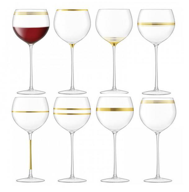 Набор из 8 бокалов для вина с золотым декором LSA International Deco 525 мл