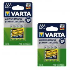 Набор из 8-ми аккумуляторов VARTA R2U Ready To Use Ni-MH AAA 800 mAh