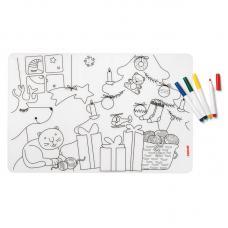 Набор из коврика-раскраски и 4 маркеров Guzzini Bimbi рождество