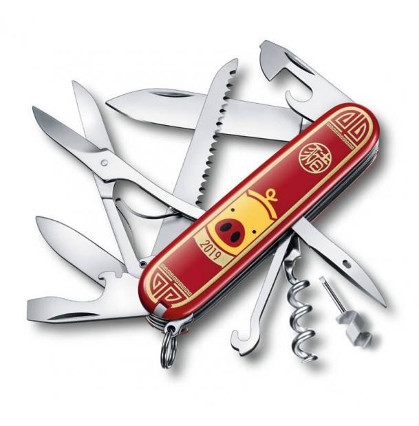 Нож перочинный VICTORINOX Huntsman Год свиньи 2019, 91 мм, 16 функций, красный