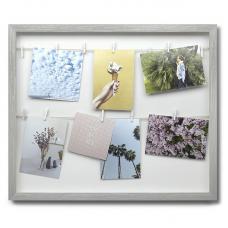 Панно с зажимами для 12 фотографий Umbra Clothesline серое