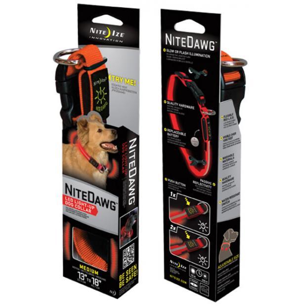 Светодиодный ошейник с отражателем Nite Ize Dawg LED Collar M Orange