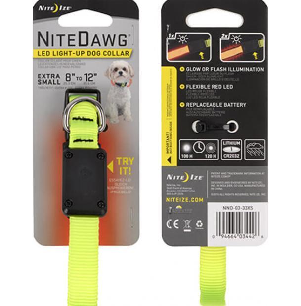 Светодиодный ошейник с отражателем Nite Ize Dawg LED Collar XS Yellow