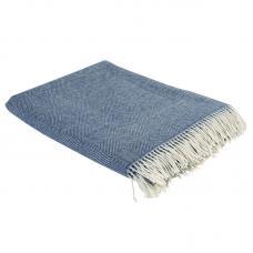 Плед из шерсти мериноса Tkano Essential 130х180 синий