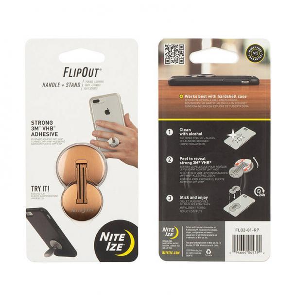 Подставка для телефона Nite Ize Flip Out Handle+Stand Bronze FLO2-41-R7