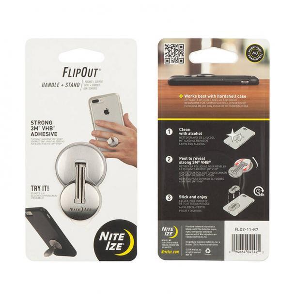 Подставка для телефона Nite Ize Flip Out Handle+Stand Stainless FLO2-11-R7