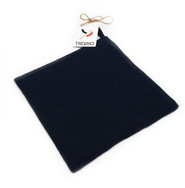 Прихватка Tkano из умягченного льна темно-синяя Essential 22х22