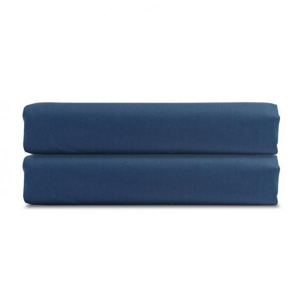 Простыня на резинке Tkano из сатина темно-синяя Essential