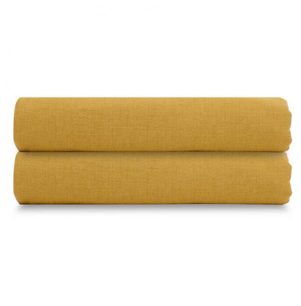 Простыня на резинке Tkano лен горчичный Essential 120х200х28