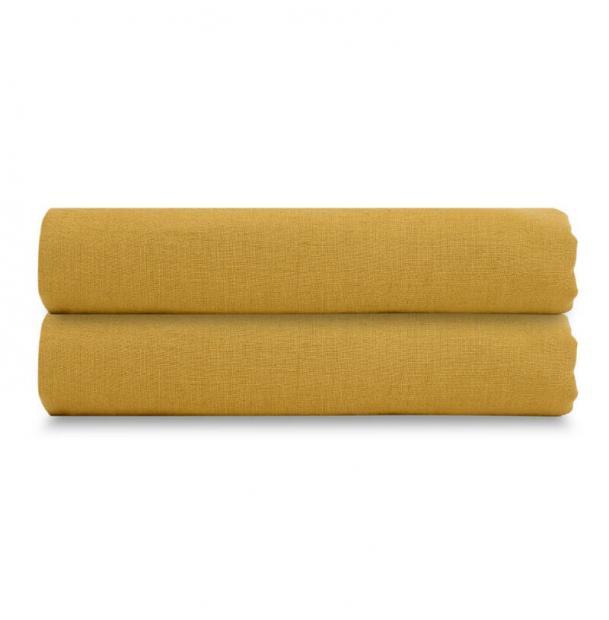 Простыня Tkano из стираного льна горчичная Essential 180х270