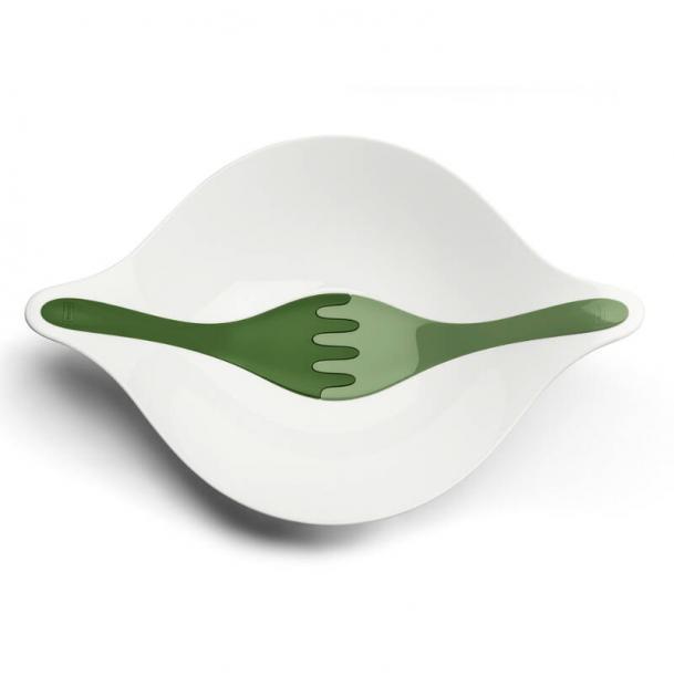 Салатница с приборами Koziol Leaf L+ 3 л бело-зелёная