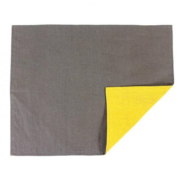 Салфетка под приборы Tkano из умягченного льна с декоративной обработкой серый горчица Essential 35х45 TK18-PM0016
