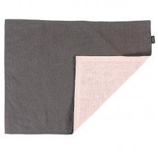 Салфетка под приборы Tkano из умягченного льна с декоративной обработкой серый розовая Essential 35х45