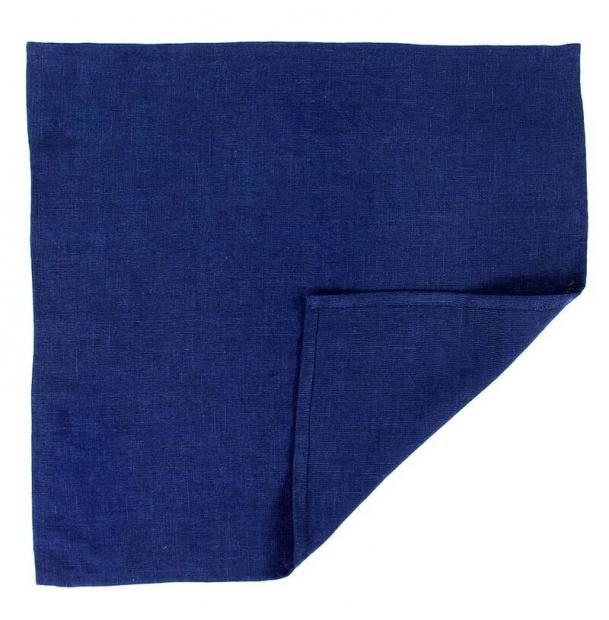 Сервировочная салфетка Tkano из умягченного льна темно-синияя Essential 45х45