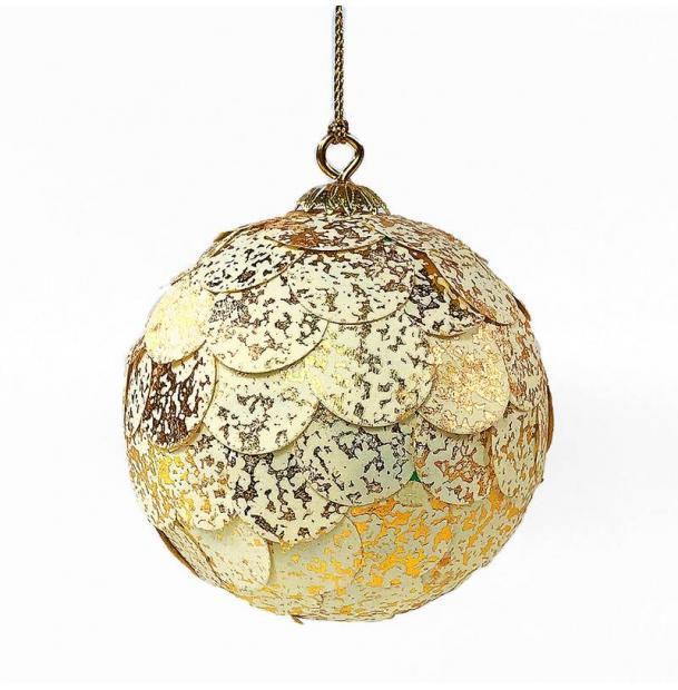 Шар новогодний декоративный EnjoyMe Paper ball, золотистый мрамор