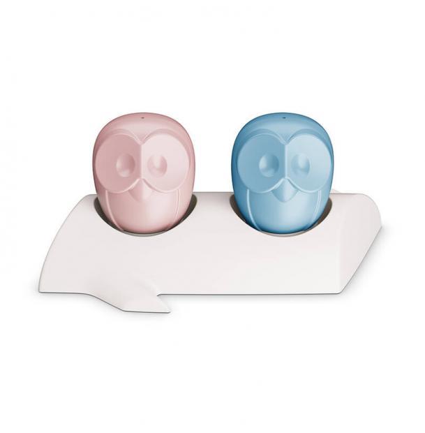 Солонка и перечница Koziol ELLI бело-розовая и голубая