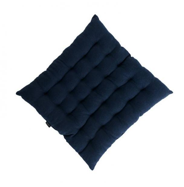 Стеганая подушка на стул из умягченного льна темно-синяя Tkano Essential 40х40